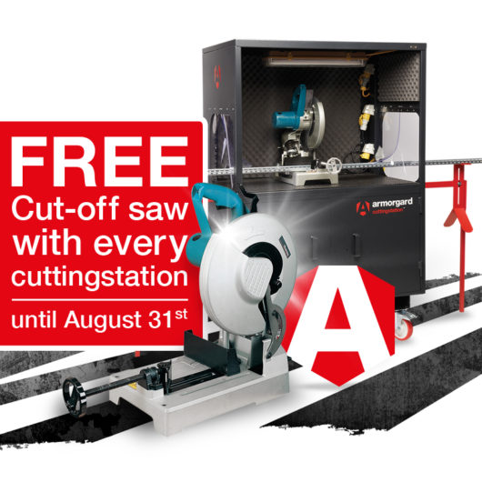 Poster with text saying 'free cut-off saw with every cuttingstation' in a red box with Armorgard cuttingstation in background