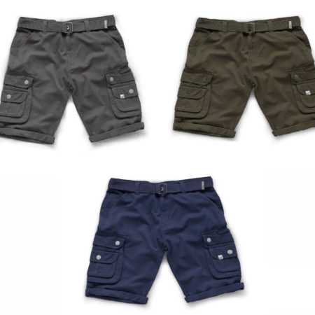 Charcoal, khaki and navy coloured cotton Cargo shorts from Scruffs on white background