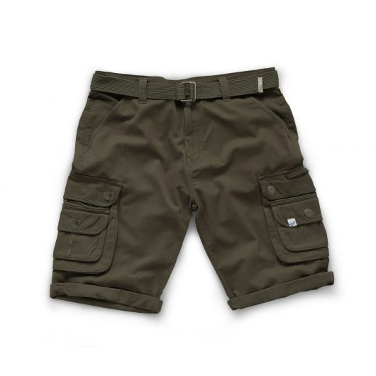 Khaki coloured cotton Scruffs cargo shorts with snap closure double cargo pockets on both legs and adjustable webbing belt
