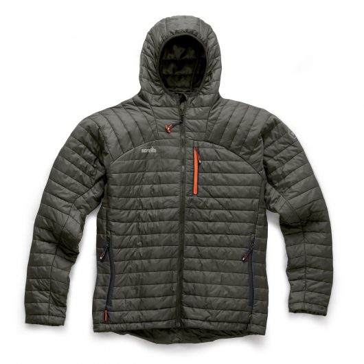 Graphite nylon expedition thermo jacket with ribbed stitching, orange detailing and contrasting grey Scruffs logo on chest