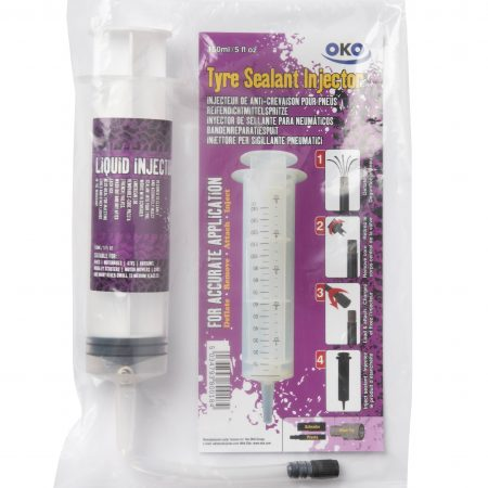 OKO 150ml tyre sealant injector syringe with Presta/Schräder screw fitting next to purple OKO branded syringe packaging