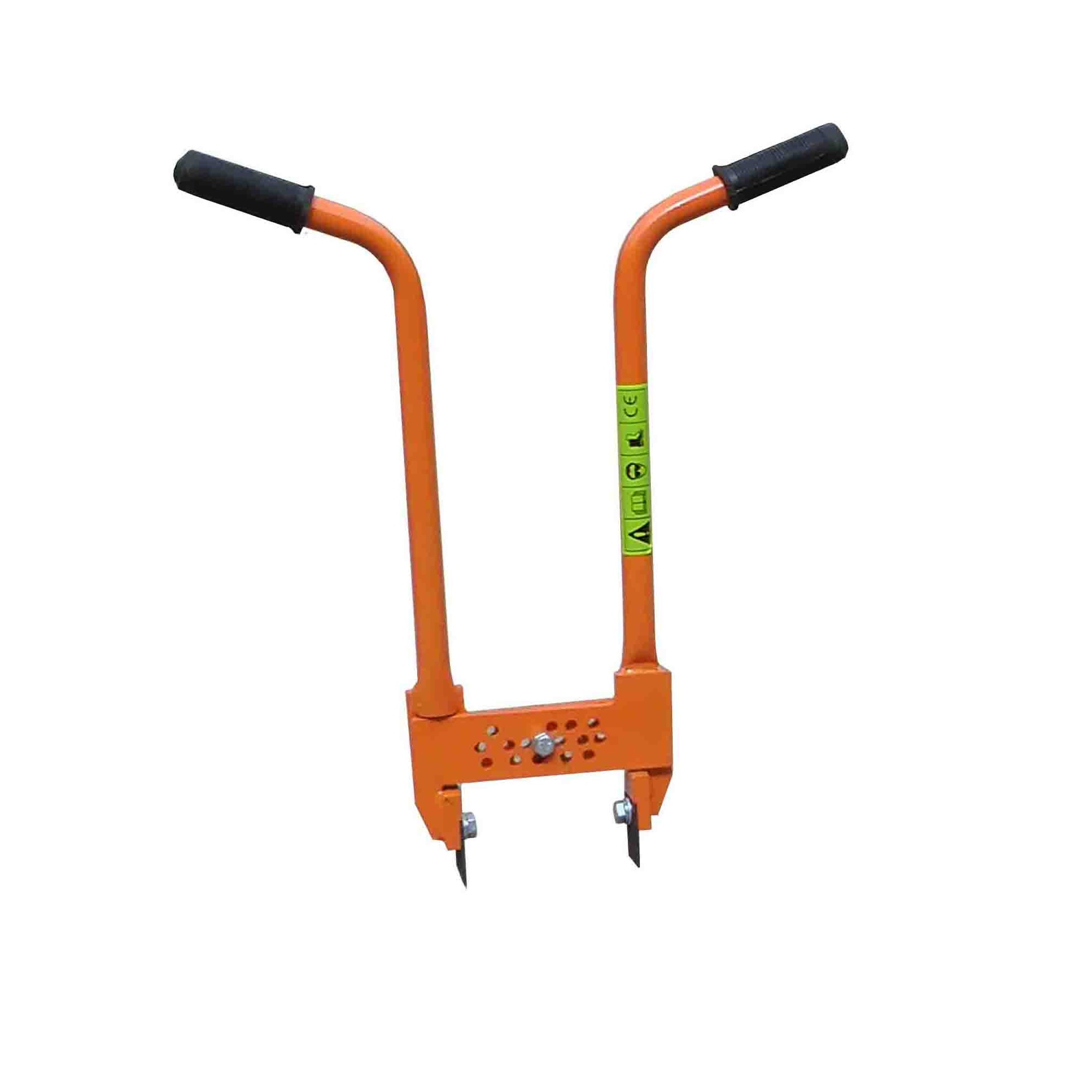 Orange metal Belle block paving lifter tool with long handles and safety stickers on