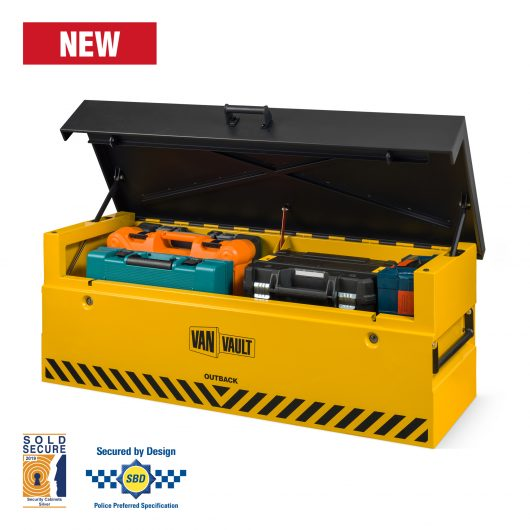 Front view image of van vault outback with lid open and full with tools