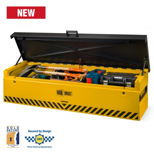 Front image of van vault tipper full with tools and lid open