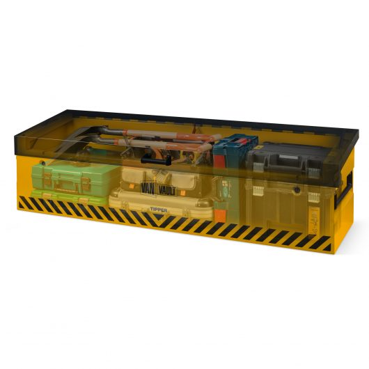 see through image of van vault tipper full with tools and lid closed