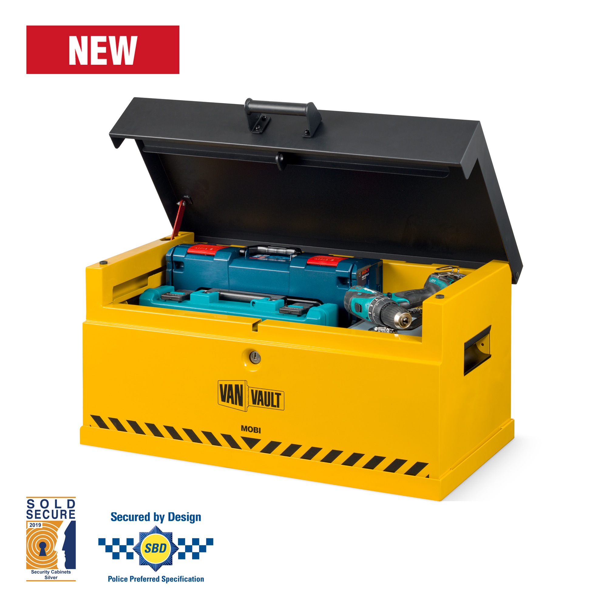 van vault mobi and docking station with lid open full of tools