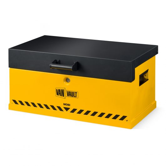 front view of van vault mobi and docking station with lid closed