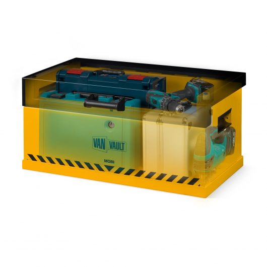 See through image of van vault mobi and docking station with lid closed and full of tools