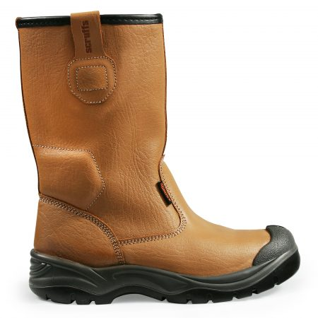 Tan leather gravity rigger safety boot with black label with orange Scruffs logo on and Scruffs branding on the grip loops