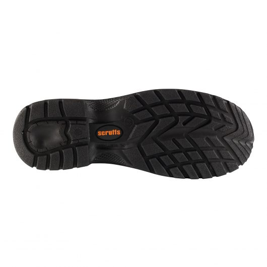 Bottom view of the cleated sole with orange Scruffs logo in the centre of the sole on the Scruffs gravity safety rigger boots