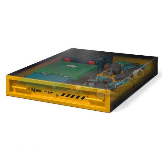 see through image of van vault slim slider full with tools