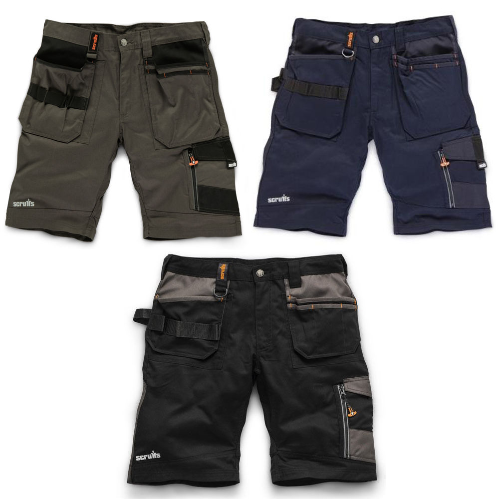 Charcoal, navy and black polyester cotton twill trade shorts with tuck away holster pockets, cargo pocket and Scruffs branding