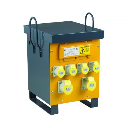 Side view of yellow and grey steel Defender air cooled site transformer with 4 x 16A & 2 x 32A power outlets and carry handles