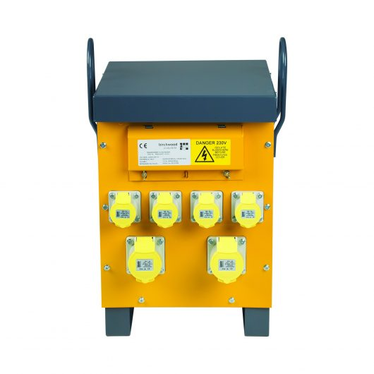Yellow and grey steel 10kVA Defender air cooled site transformer with 4 x 16A & 2 x 32A power outlets and carry handles