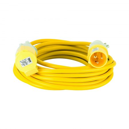 Yellow Defender 10M 2.5mm 16A arctic grade 110V extension lead cable with Defender plug and coupler, on a white background