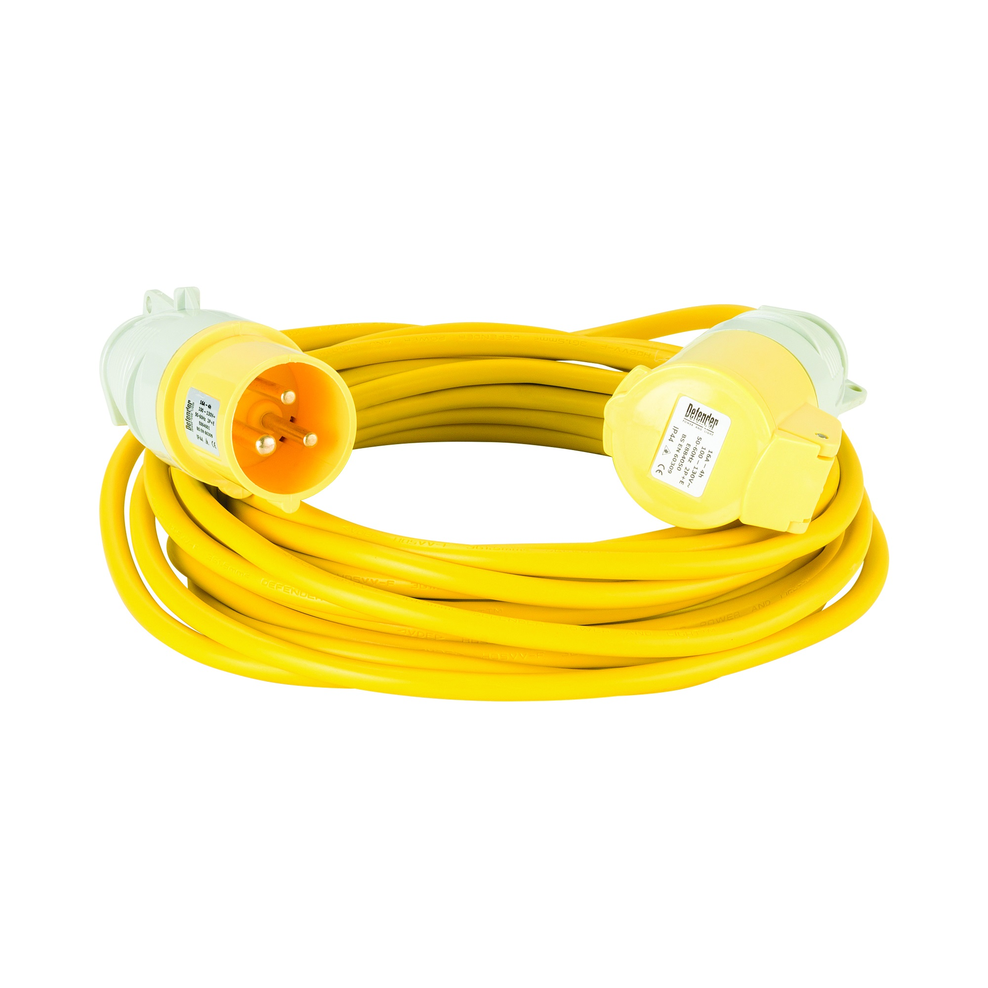 Yellow Defender 10M 1.5mm 16A arctic grade 110V extension lead cable with Defender plug and coupler, on a white background