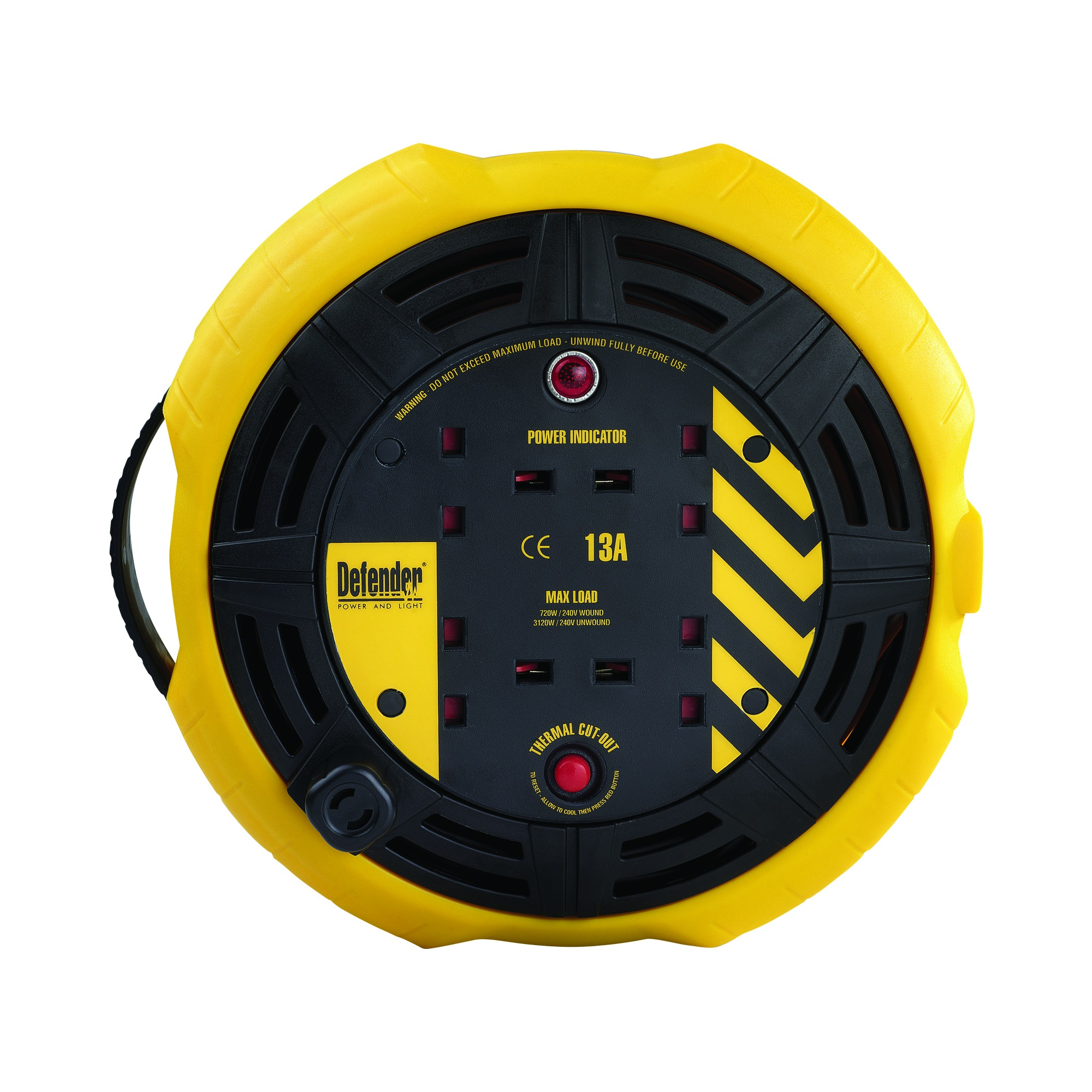 Defender 10M cassette reel with impact resistant yellow and black casing, 4 power outlets, easy wind reel and Defender branding