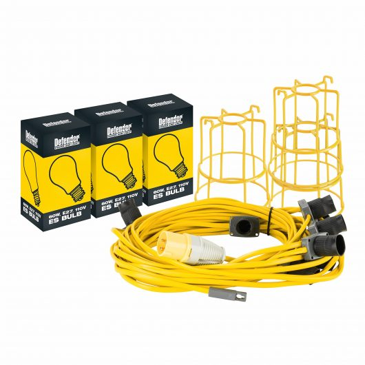Defender festoon kit featuring hanging light chain with 10 ES holders, bulb fittings and guards