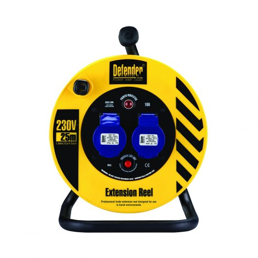 Black and yellow Defender 25M 230V industrial extension reel with steel A frame, neon power light and 2 16A power outlets