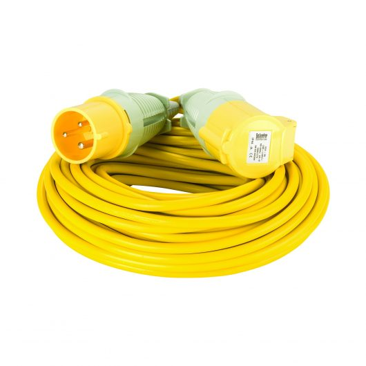 Yellow Defender 25M 2.5mm 32A arctic grade 110V extension lead cable with Defender plug and coupler, on a white background