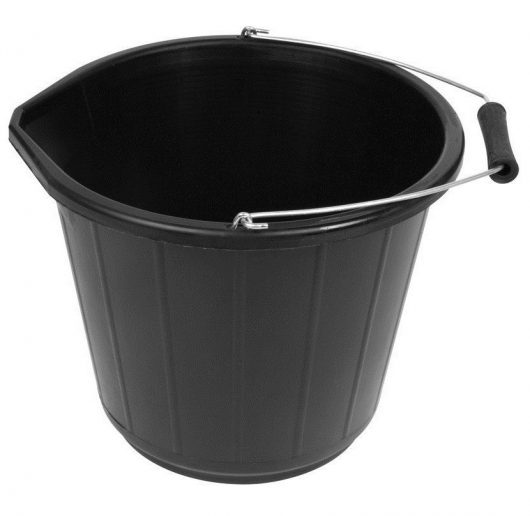 Black 3 gallon bucket with spout and metal handle with plastic/wooden reinforced grip on a white background
