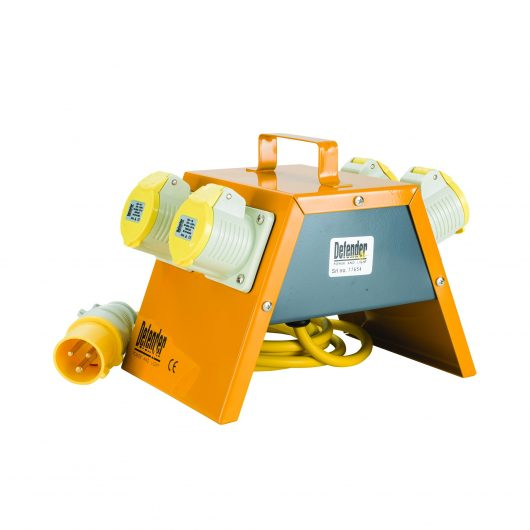 Side view of yellow steel cased Defender 4 way power splitter with 4 power outlets, carry handle and Defender branding