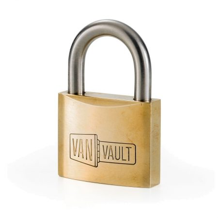40mm brass Van vault padlock with stainless steel shackle, on a white background
