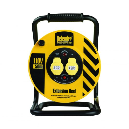 Black and yellow Defender 50M 1.5mm industrial extension reel with steel A frame, neon power light and 2 16A power outlets