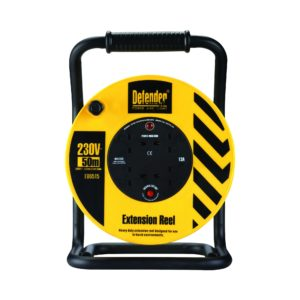 Black and yellow Defender 50M industrial extension reel with steel A frame, neon power light and 4 13A power outlets