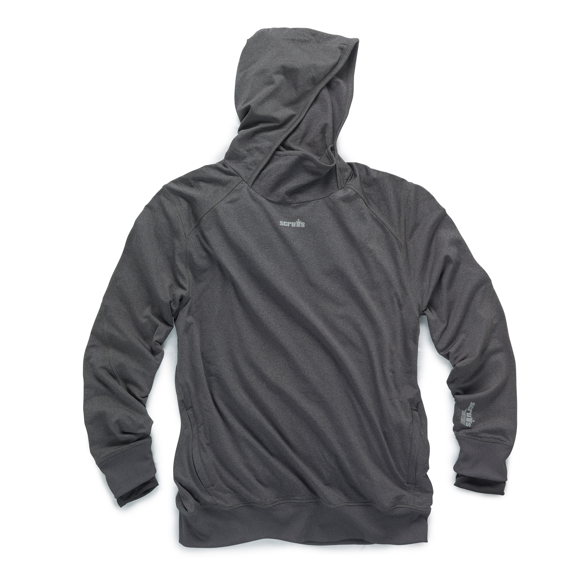 Charcoal marl polyester active hoodie with side pockets, ribbed elasticated cuffs and hems and contrasting grey Scruffs branding