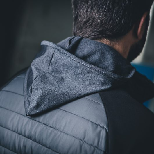 Back view of the charcoal marl polyester hood on the Scruffs active hoodie
