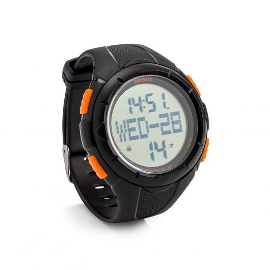 Activity tracker watch with black PU plastic wristband, orange buttons and orange Scruffs branding on the digital clockface