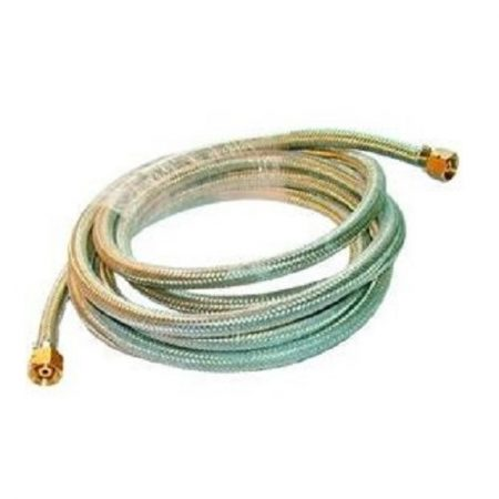 5M roll of armoured gas hose including fittings on a white background