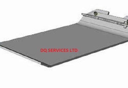 Silver rectangle with curved ends Belle PCX 450 and 20/45 block paving pad with attachment area at one end