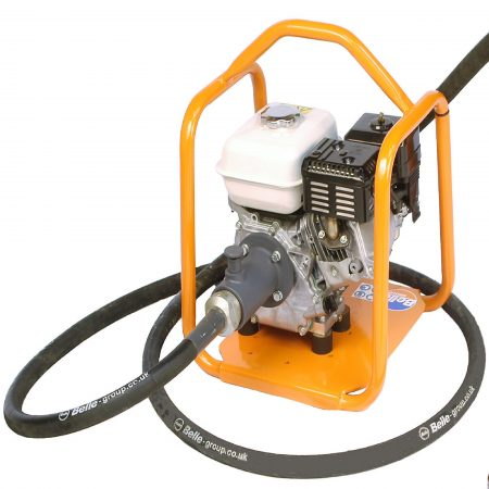 Belle BGA mechanical poker Honda petrol engine drive unit with orange metal protective frame with poker attached