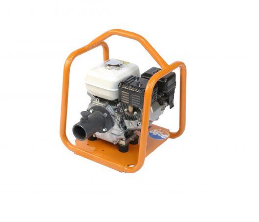 Belle BGA mechanical poker Honda petrol engine drive unit with orange metal protective frame on a white background