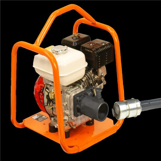 Belle BGA mechanical poker Honda petrol engine drive unit with orange metal protective frame on a black background