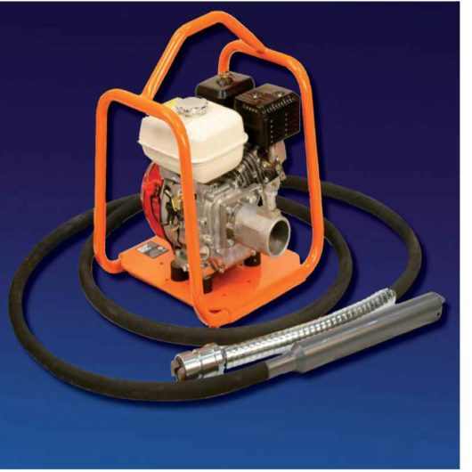 Belle BGA Mechanical Poker Honda petrol engine drive unit with orange protective frame and 55mm poker head