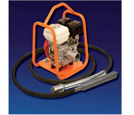 Belle BGA Mechanical Poker Honda petrol engine drive unit with orange protective frame and 68mm poker head