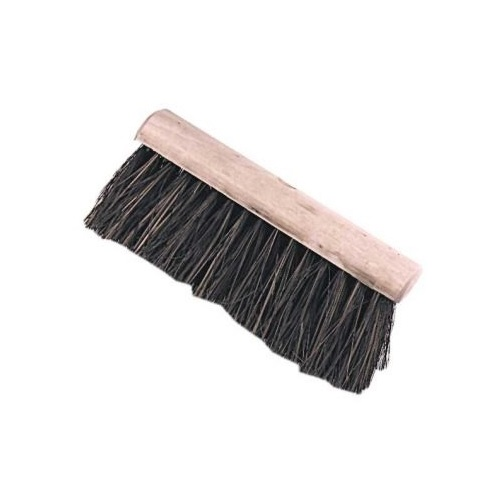 "10"" wooden broom head with hard bassine bristles on a white background"