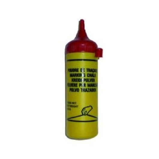 Yellow Maxi Line chalk refill flask with a red top on a white background