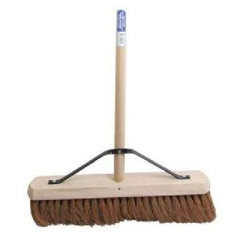 "18"" wooden broom head with soft coco bristles, wooden handle and stay on a white background"