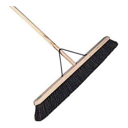 "24"" wooden broom head with soft coco bristles, wooden handle and stay on a white background"