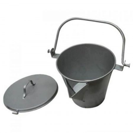 Steel bucket with 'V' pouring lip, handle and lid for use with asphalt on a white background