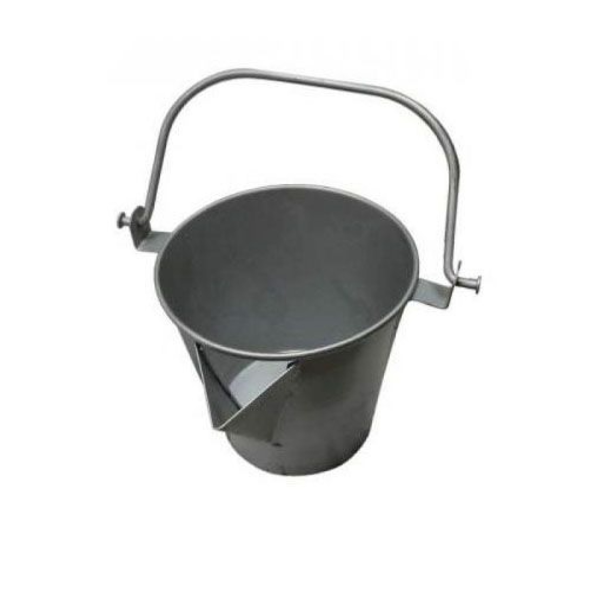 Steel bucket with 'V' pouring lip and handle for use with asphalt on a white background
