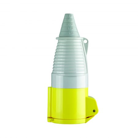 Yellow, white and grey Defender 32A 110V coupler with conical ergonomic design, on a white background