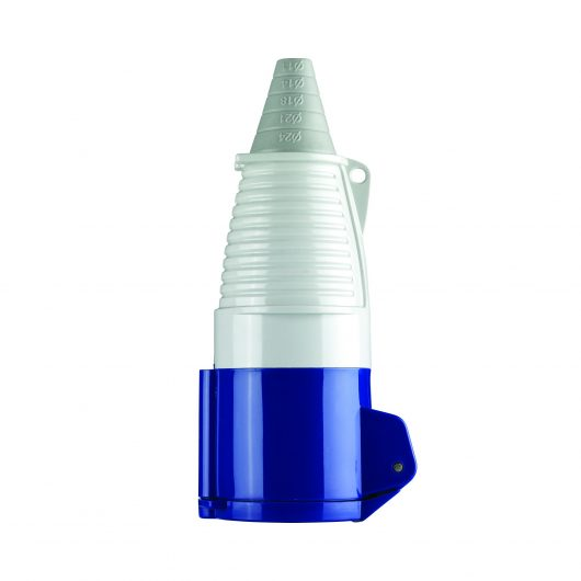 Blue, white and grey Defender 32A 230V coupler with conical ergonomic design, on a white background