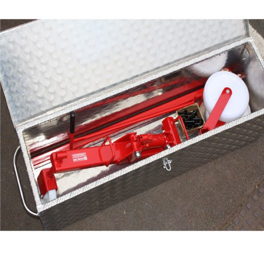 Mustang alloy storage box with the hydraulic manhole cover lifter and interchangeable keys inside