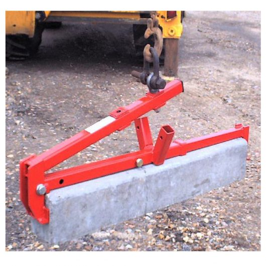 Red steel mechanical kerb/slab lifter from Mustang attached to digger hook, lifting a slab
