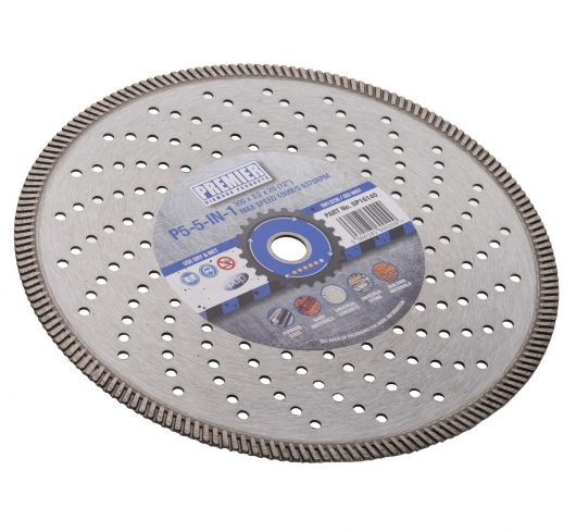 300 x 3.2 x 10 x 20mm P5 5in1 perforated diamond blade 300 with blue and grey Premier branded label in the centre
